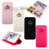 Luxury Diamond Cover Protector Deluxe PU Leather Flip Wallet Case For Samsung Galaxy S6 G9200 Phone Bling Crown Stand Case Capa