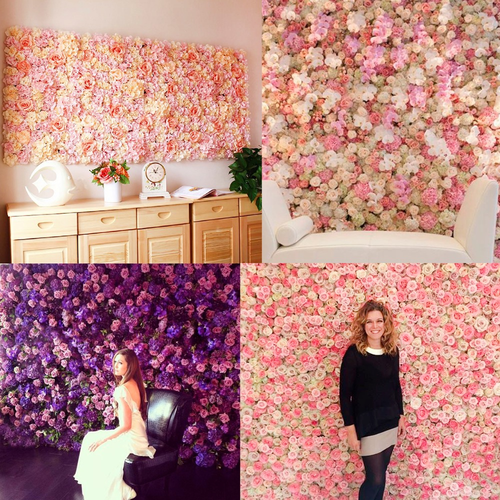 PATIMATE 40*60cm Rose Silk Flower Wall Wedding Decoration