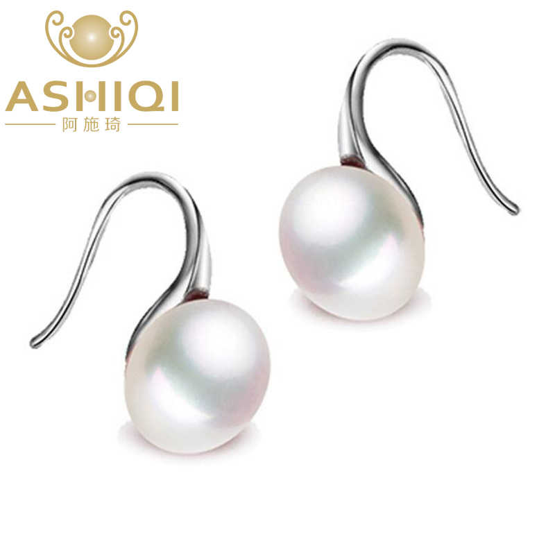 ASHIQI Natural Freshwater Pearl Drop Earrings Real 925 Sterling Silver Jewelry For Women