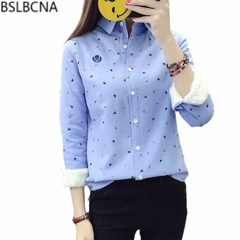 Print Casual Long Sleeves Loose Plus Size Shirt Woman 2019 New Korean Autumn Winter Thick Warm Women Tops And Blouse Female A425