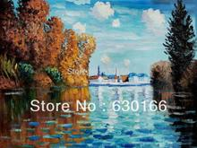 Autumn at Argenteuil by Claude Monet, Landscape Wall Arts, Oil Painting Landscapes, Handpainted, Wall Decor, Free Ship
