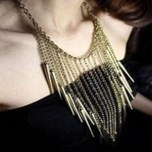 Fashion Exaggerated long tassels Necklace Spiked Fringed Collar Trade Punk Jewelry Gold Chain  Stainless Steel