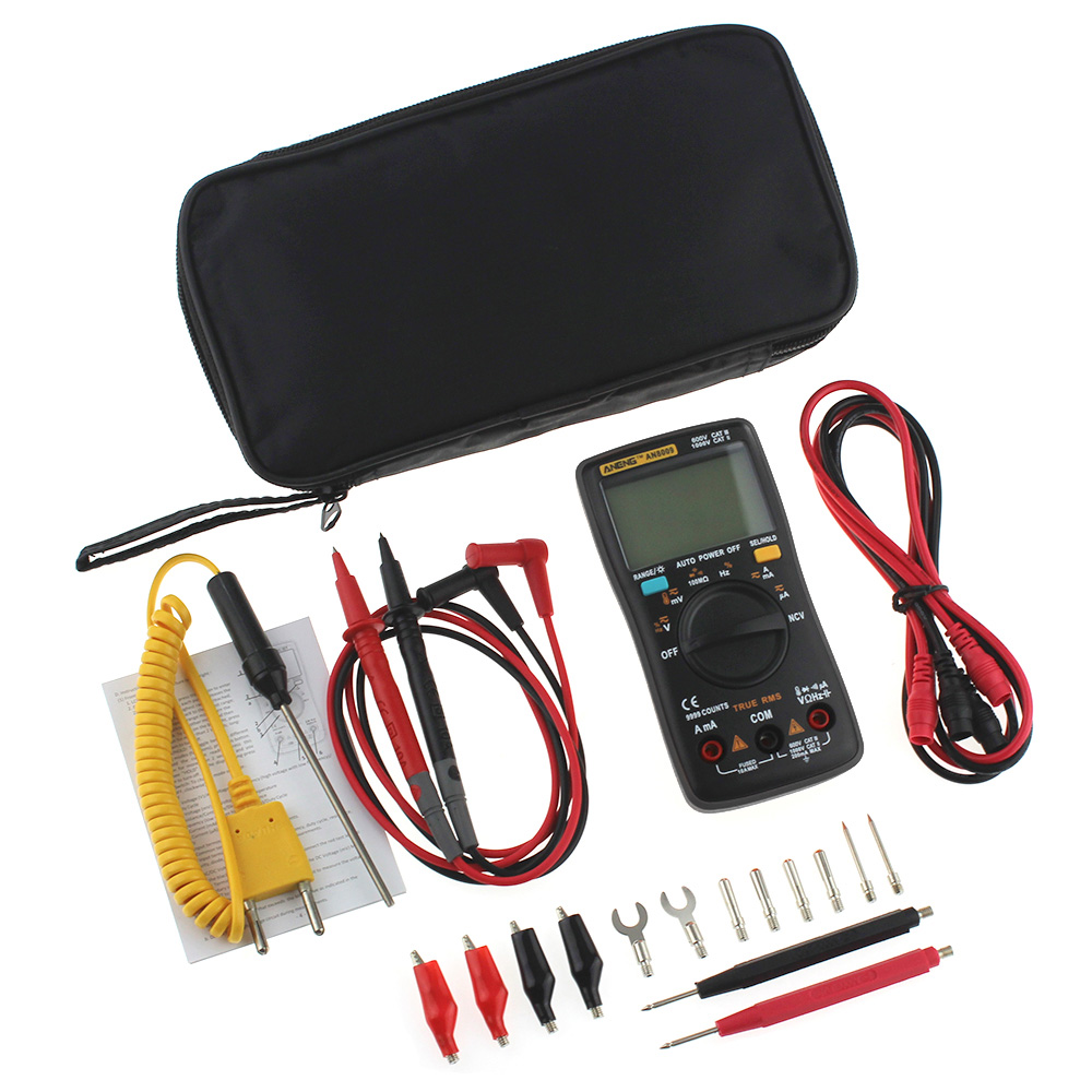 Digital Multimeter AN8008 AN8009 Auto Range 9999 counts With Backlight AC DC Ammeter Voltmeter Ohm Transistor Tester multimeter 6000 counts clamp multimeter backlight auto manual range ac dc voltmeter ammeter ohmmeter thermometr temperature tester