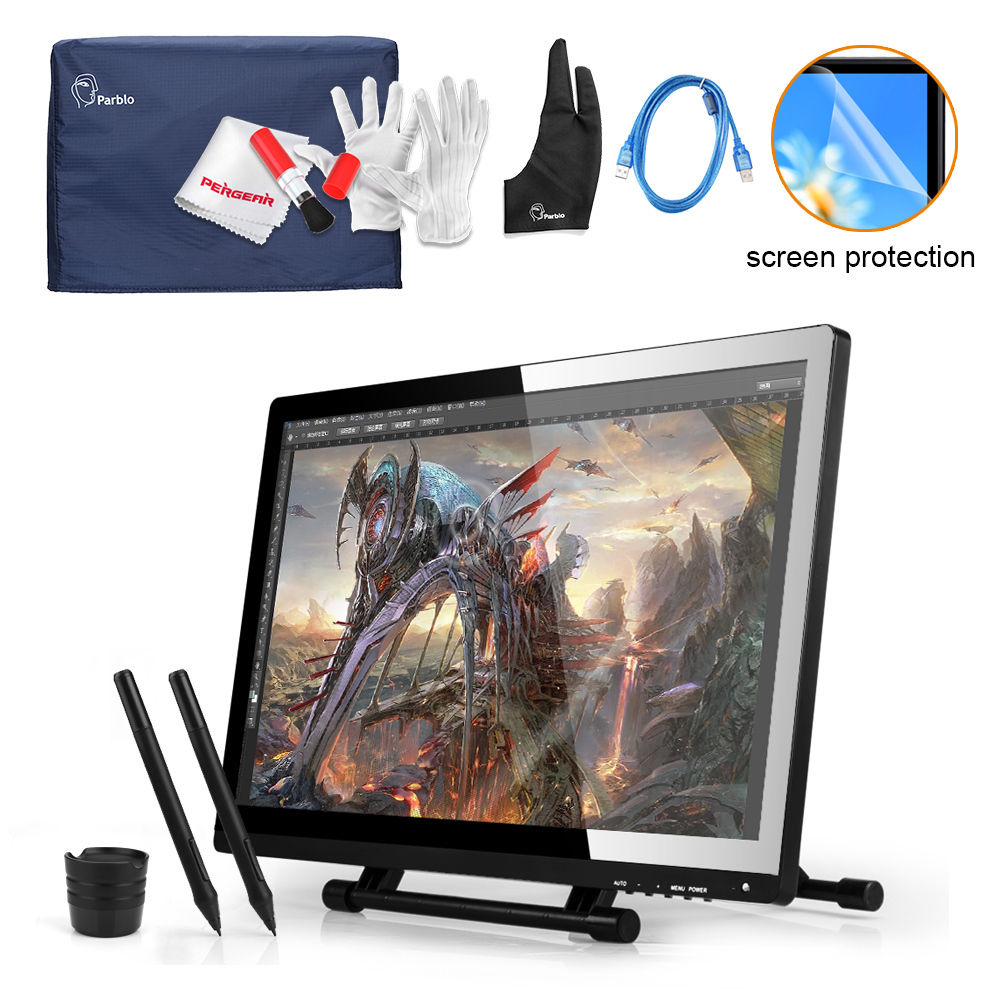UGEE 21.5 IPS LED Art Design Graphic Tablet Monitor 1920x1080 Drawing Board +Parblo Monitor Protector Cover+Glove +USB Cable professional ug 2150 ips hd tablet monitor parblo pr200w one hand mechanical gaming keyboard two finger glove screen protector