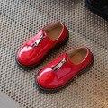 Детская Обувь Мальчики Martin Обувь 2017 Весна Кожа Мода Маленьким Девочкам Одиночные Детская Обувь Молния Конфеты Цвет Свадебные Туфли