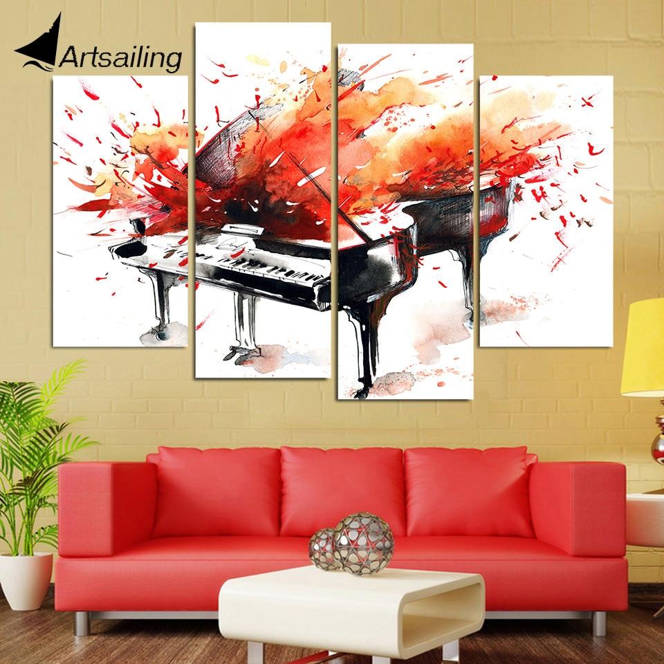 HD Gedruckt 4 Stück Leinwand Kunst Abstrakten Roten Klavier Malerei ...