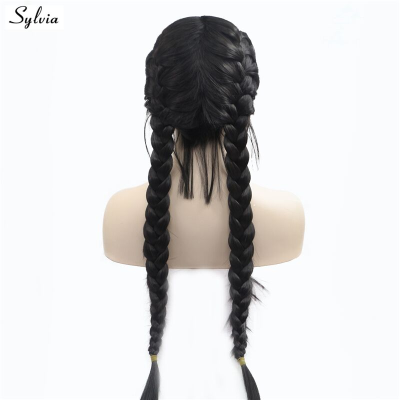 Nature 1B#/2# Double Braids With Baby Hair Synthetic Lace Front Wigs Braided Box Braids Wig Long Heat Resistant Fiber Wig Sylvia