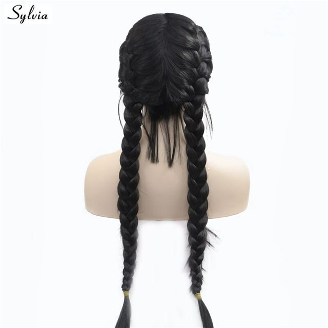 Nature 1B  2  Double Braids With Baby Hair Synthetic Lace Front Wigs Braided  Box Braids Wig Long Heat Resistant Fiber Wig Sylvia 45f7adceb09c