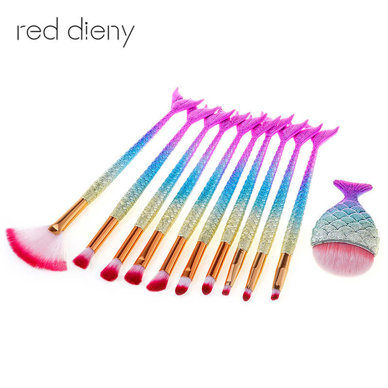 Professional 11pcs Mermaid Makeup Brush Set Eyebrow Eyeliner Blush Blending Contour Foundation Cosmetic Beauty Makeup Brush Tool new design stamp seal shape face makeup brush foundation powder blush contour brush cosmetic facial brush cosmetic makeup tool
