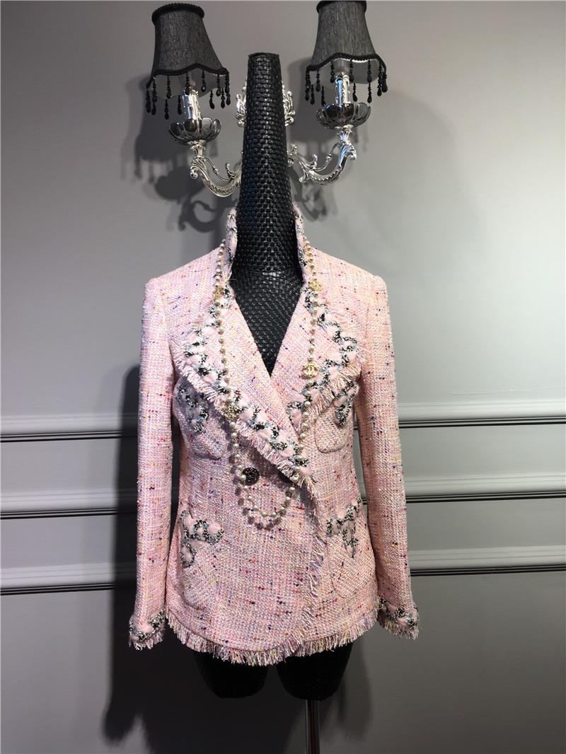 2017 Runway Elegant Luxury Classic Design Lady Pearls detail Pink Weave TWEED Short Jacket Fringe hem lapel collar with Pockets