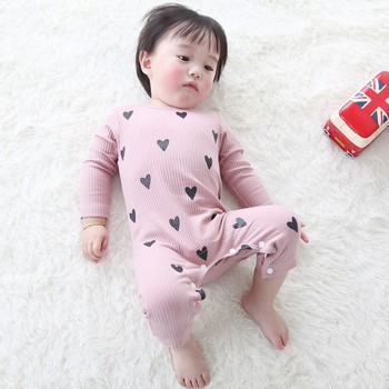 0-24 Months High Quality New Born Baby Girls Boy Romper Clothes Cute Heart Cotton Girls Long Sleeve Jumpsuit Pink Blue 1
