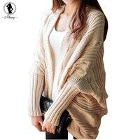 2016 Autumn Winter Fashion New Style Sweater Women Bat Sleeve Loose Stripe Knitted Cardigan Sweater Poncho