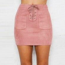 Сексуальная женская элегантная юбка карандаш на шнуровке, кожа, замша, высокая талия, Короткие мини юбки для вечеринок, Женская Повседневная офисная облегающая юбка