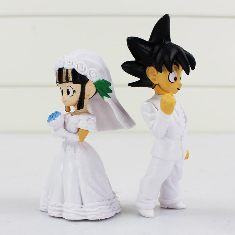 8cm Japan Anime Dragon Ball Goku ChiChi Wedding PVC Figure Toys 2pcs/set