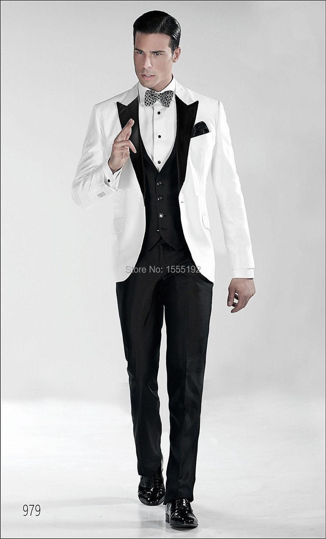 2017 New Hot Sale White Men Suits Black Lapel Wedding Suits For men Groom Tuxedos ...