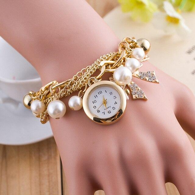 fashion casual wrist watch ladies gold chain with pearl strap watch women top brand ladies watch relogio feminino clock 8739