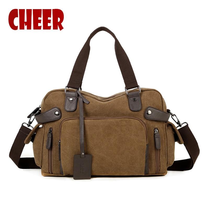 2017 new Fashion Men bag Handbag Shoulder Canvas bag large capacity travel handbags Messenger laptop bag Designer high quality