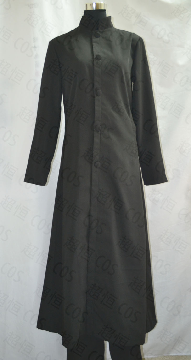 The Matrix Neo Wool Trench Coat Cosplay Costume Black Long Jacket Halloween Party Outfit