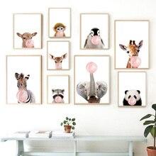 Cute Zebra Deer Elephant Giraffe Panda Balloon Nordic Posters And Prints Wall Art Canvas Painting Picture Kids Room Decor