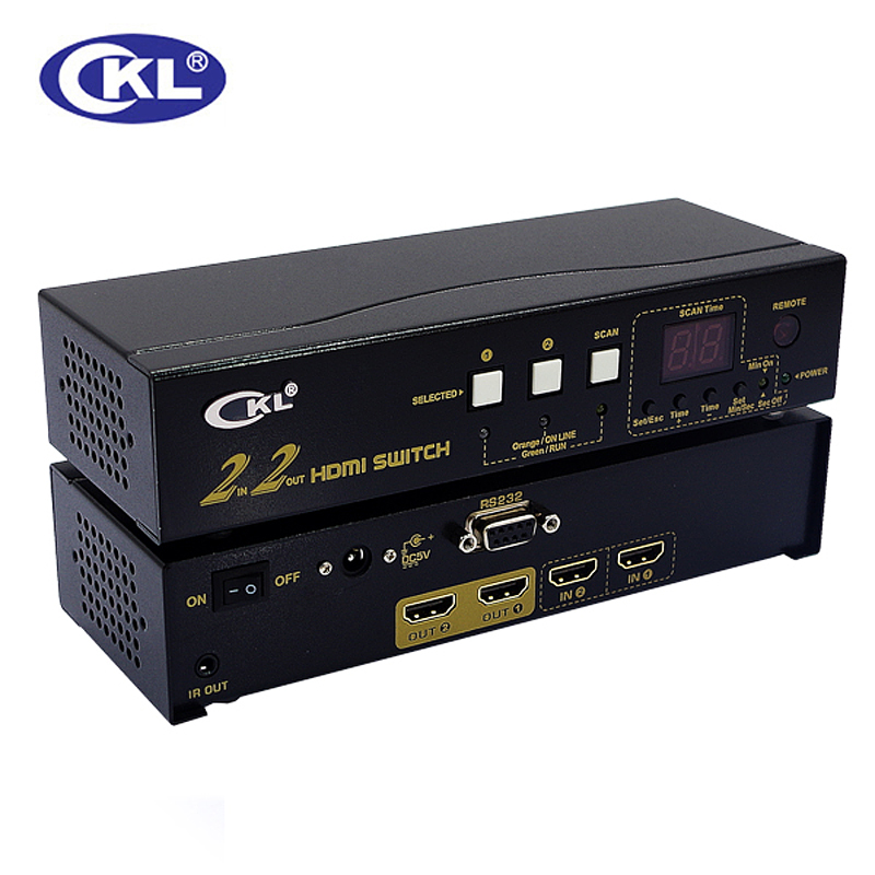 CKL-222H High-end 2x2 HDMI Switch Splitter Box 2 in 2 out for PC Monitor with IR Remote RS232 Control Support 3D 1080P