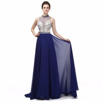 Real Photos Navy Blue Evening Dress A Line High Neck Beaded Sexy Backless Long Party Gown Plus Size Custom Made