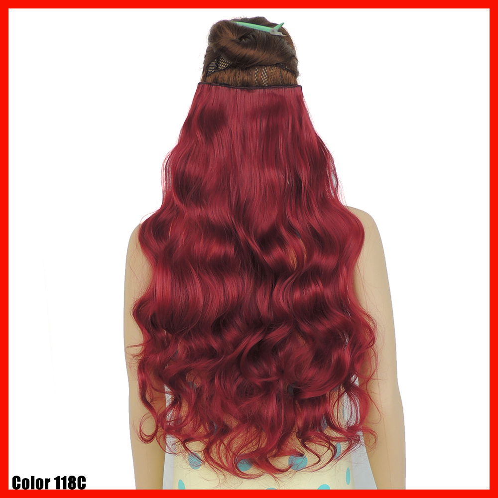 Burgundy Red Clip In Hair Extensions Curly Extentions Piece 24 Inch