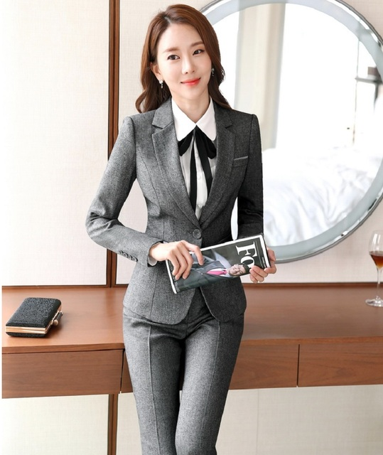 New Professional Formal Female Pantsuits Novelty Grey With Jackets And Pants Autumn Winter Pants Suits Trousers Set Plus Size