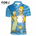FORUDESIGNS 2017 New Fashion 3D Simpsons Pattern Polo Shirt Men Clothes Supreme Polo-shirts for Man Medusa Shirt Short Sleeved