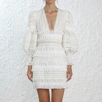 Runway Boutique Dresses Mini Women Lantern Sleeves 2018 Autumn Designer Female Luxury Ruffle Lace Dress Sexy Deep V neck Vestido