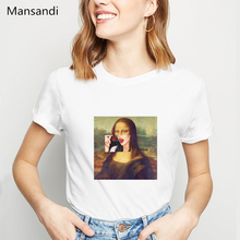 funny Mona Lisa print T shirt spoof personality fashion tshirt femme Harajuku summer casual loose S-2XL womens clothing