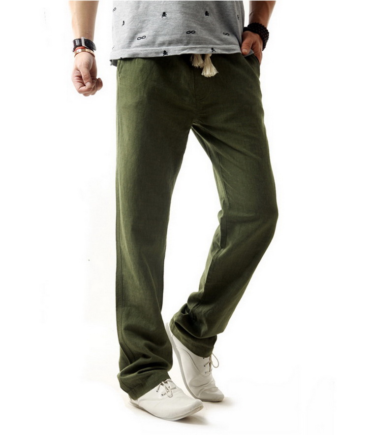 Pantalon vert kaki pour hommes en lin et coton