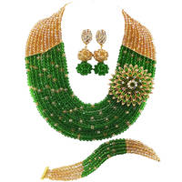Fashion Champagne Gold AB Green Crystal Nigerian Beads African Jewelry Set for Women 10C SZ010