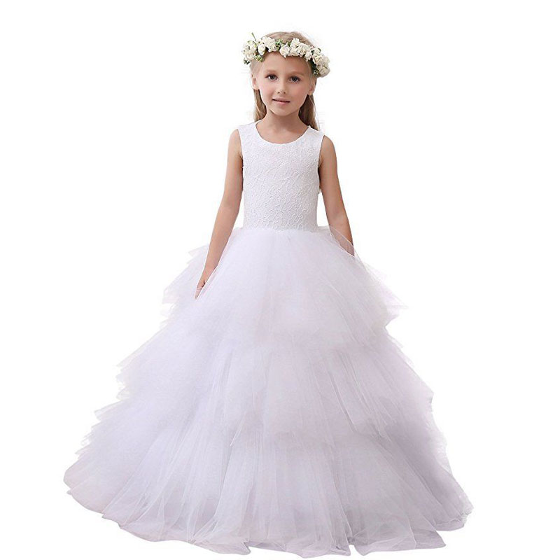 Tulle Flower Girls Dresses For Wedding Ball Gown Girls First Communion Dress White Kids Prom Dress Long Mother Daughter Dresses цена 2017