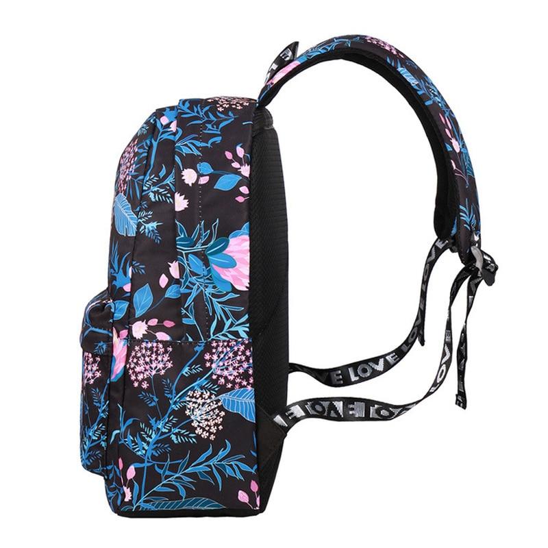 Fashion Tanaman Hijau Daun Cetak Wanita Ransel Bunga Printing Wanita Ransel Sekolah Anak Perempuan Setiap Hari College Laptop Bagpack Hitam