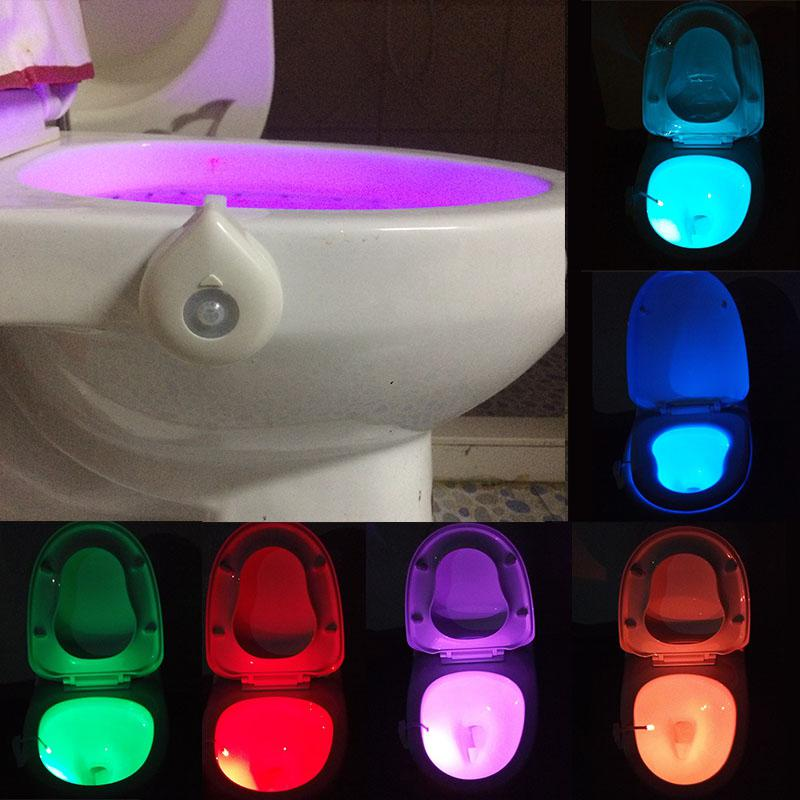 LumiParty Motion Activated Toilet Night Lights 8 Color Changing Led Toilet Seat Light Motion Sensor Lamp For Washroom Bathroom color changing led lamps kids washingroom bathroom motion bowl toilet light activated on off lights seat sensor lamp nightlight