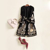 New winter dress Europe and the United States heavy gold thread embroidery coat hot style