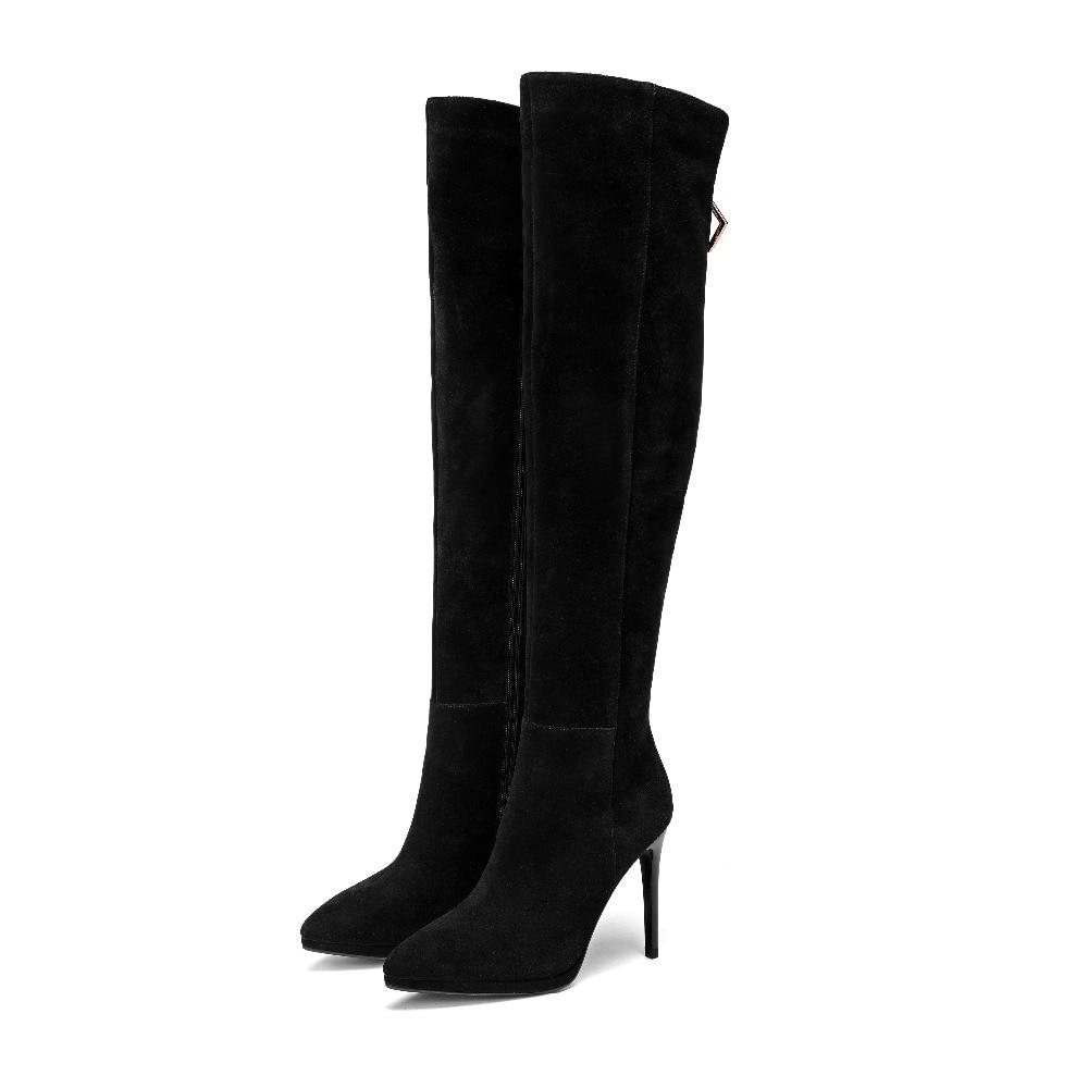 Mature Sexy Des 10 En Élégant Mode Femmes Hautes Cm Hiver Noir Lady Office 2019 Chaussures De Dames Décoration Bottes Métal Au Cours 0nNP8wOkX