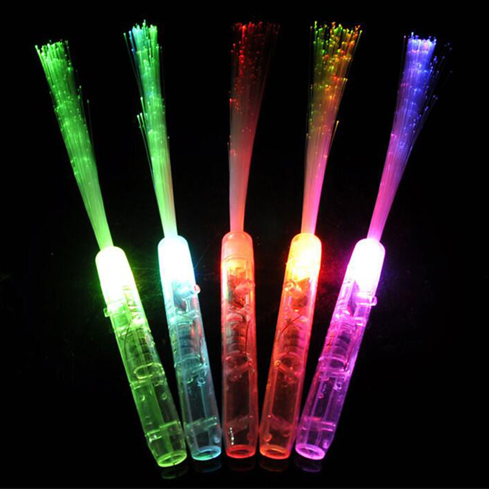 35CM Fiber Optic Concert Light Stick Flashing Colorful Blinking Led Sticks Glowing Toys For Festival Xmas Halloween