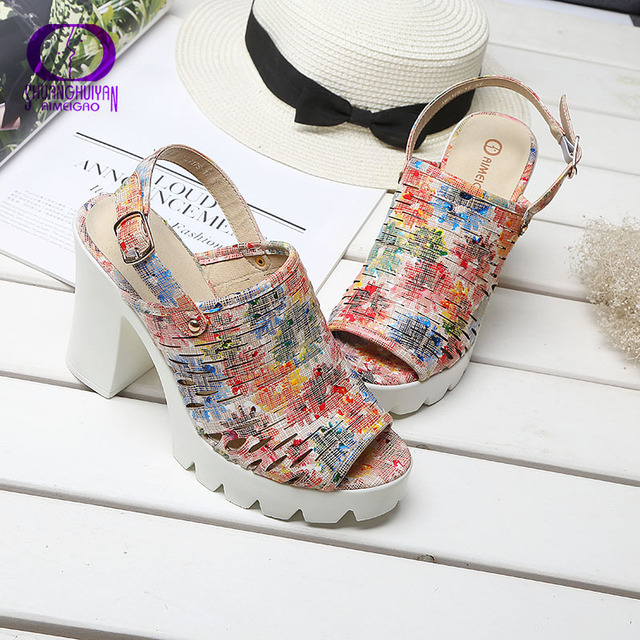 European Women Summer Platform High Heels Sandals Peep Toe Slingbacks Sandals Thick Heels Shoes Big Size Women Shoes