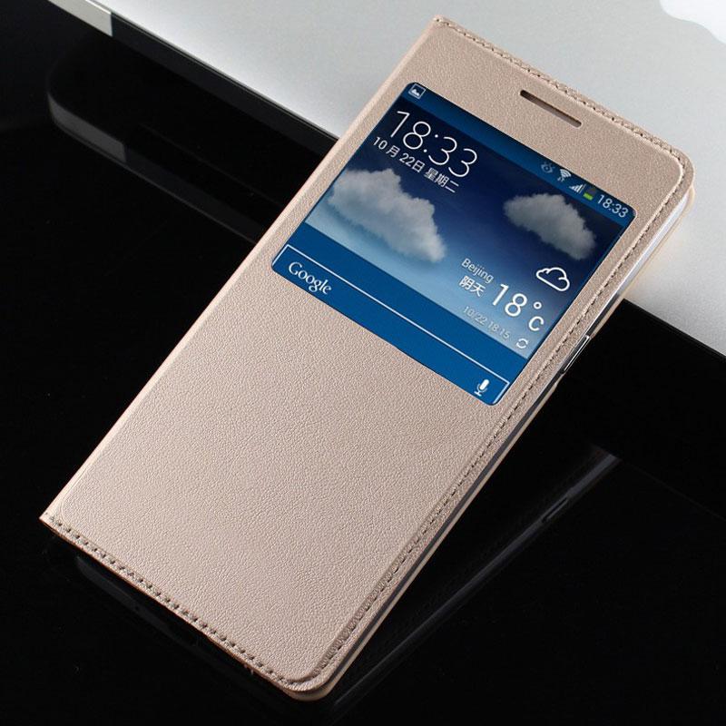 För Samsung Galaxy J3 2016 Fodral Öppna fönster Visa Flip Cover Fodral för Coque Samsung J3 2016 Fodral Läderfodral för Samsung J3