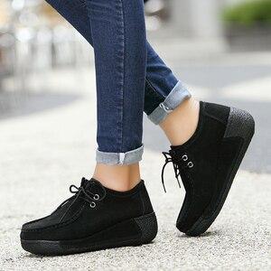 Image 4 - Kobiety płaskie buty ze skóry naturalnej platformy mokasyny kobieta pnącza zasznurować mokasyny do jazdy kobiet przypadkowi buty Sapato Feminino 2020