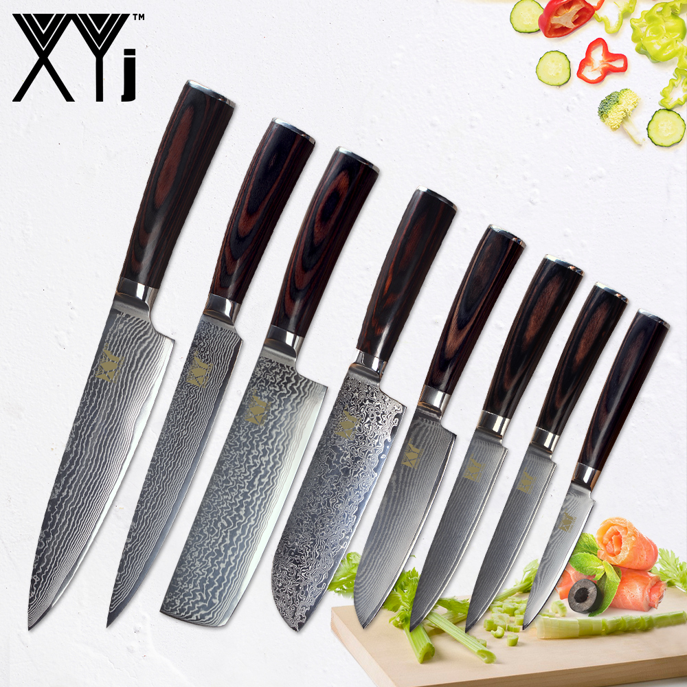 XYj Damascus Chef Cook Knives Wood Handle Japanese Kitchen Knives VG 10 Damascus Steel Kitchen Cooking