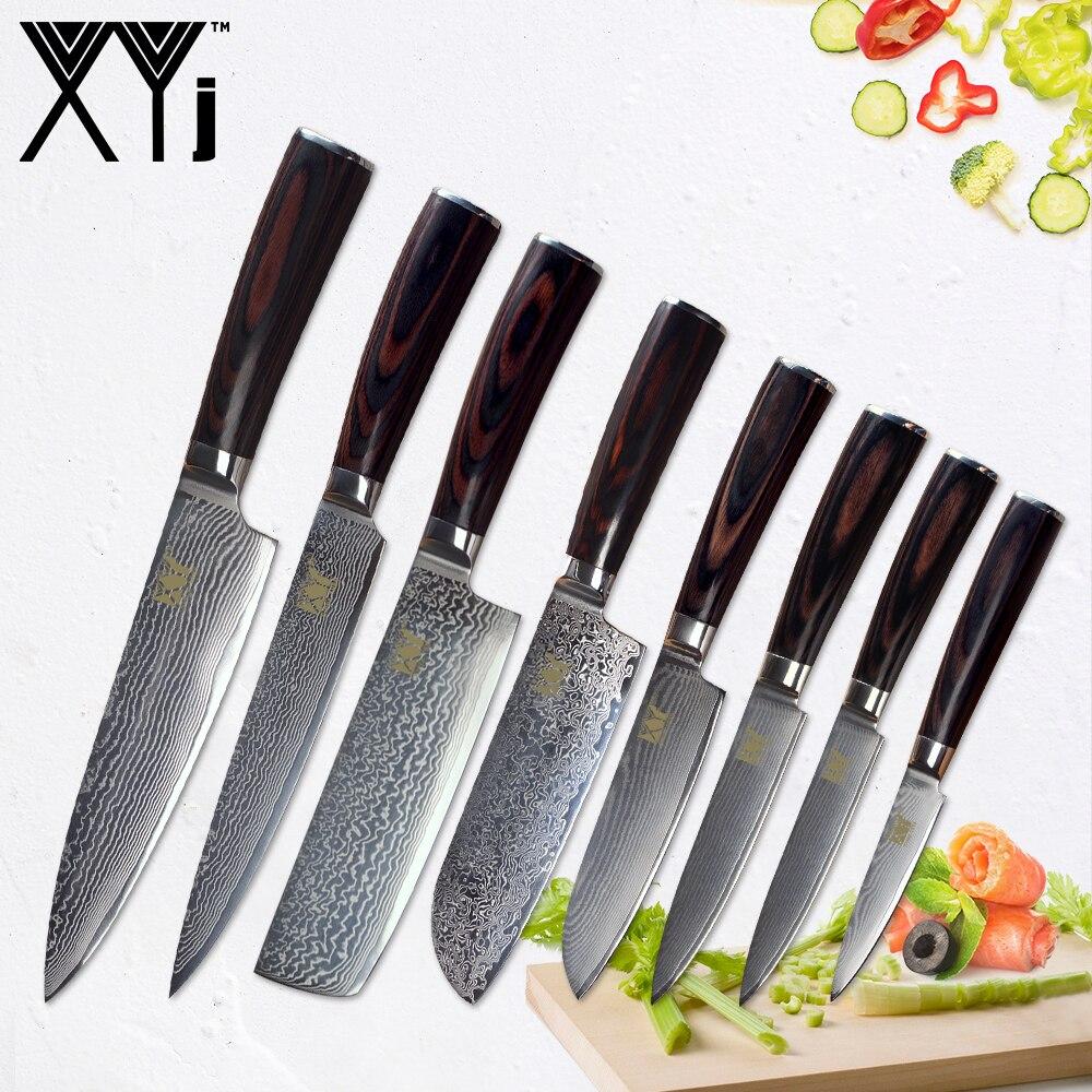 XYj Damas Chef Cuisinier Couteaux Manche En Bois Japonais couteaux de cuisine VG 10 Damas Cuisine En Acier couteau de cuisine Aceessories Outils
