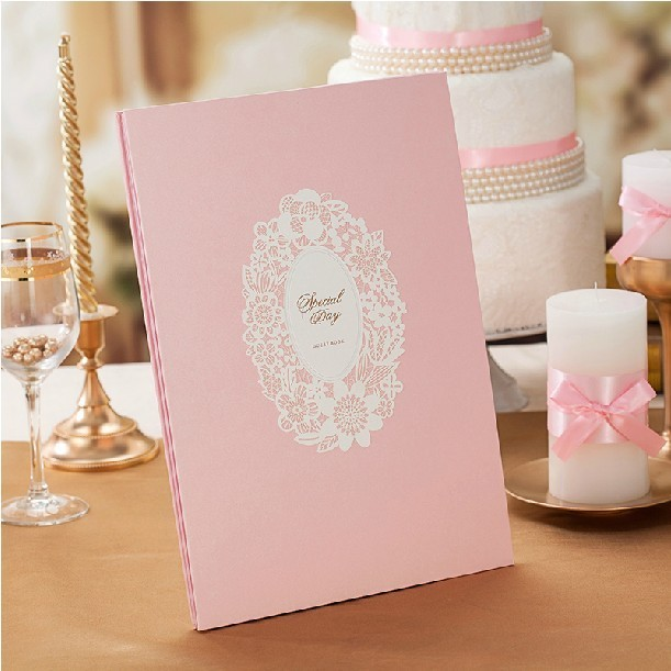 Lovely Pink Wedding Guest Book (5 Pages) For Wedding Reception