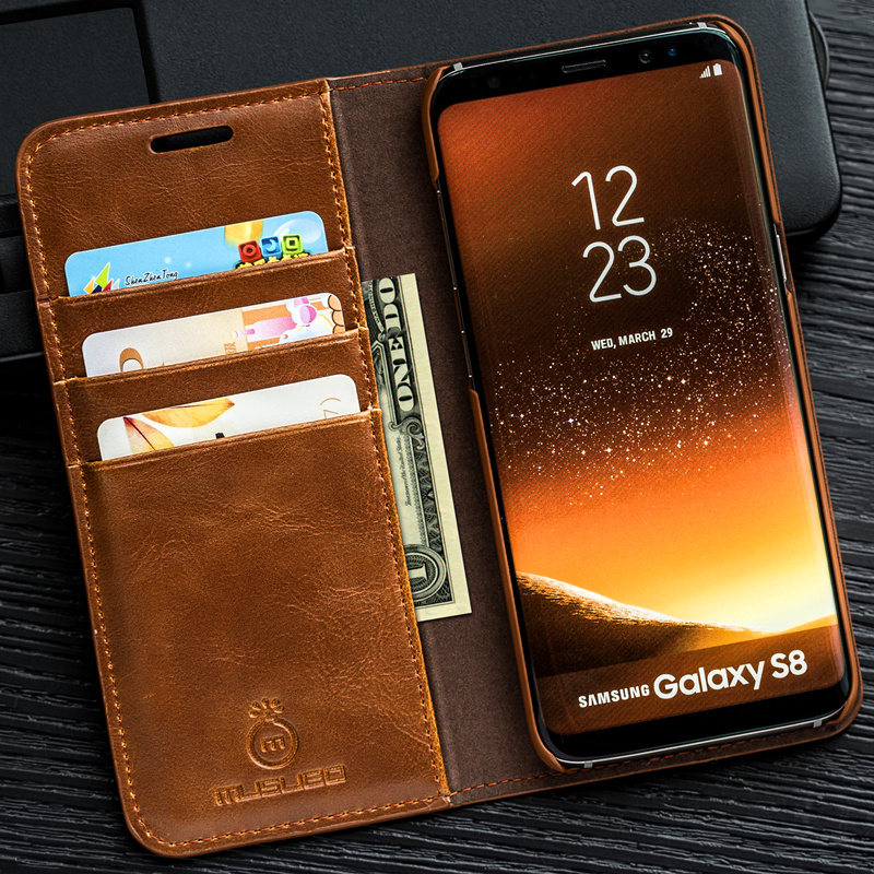 Musubo Luxury Stand Leather Case For Samsung Galaxy S8 Plus S7 Edge S6 Note 5 4 cover coque capa