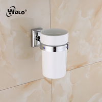 Drop shipping Toilet Brush Toilet Brush Cup & Rack Sets Bathroom Brass Wall Mounted Type Silvery Storage Hair Dryer Holder B12