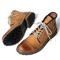 Genuine Leather Men Two tone Lace Up Work Safety Martin Boots Cowboy Retro High-top Oxford Desert Boots