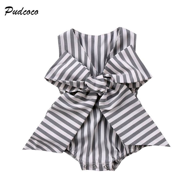 2018 Summer Newborn Baby Girls Striped Romper Sleeveless V-neck Bow Loose Outfits Kids Jumpsuit Sunsuit Clothes