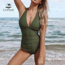 CUPSHE seksi ordu yeşil dantelli tek parça mayo kadınlar katı Monokini mayo Monokini 2020 kız plaj mayo