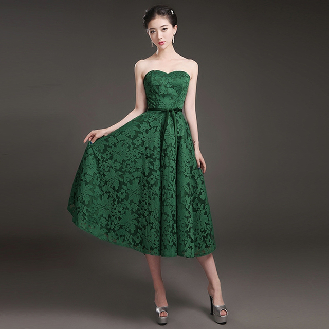 Sweetheart Lace Bridesmaid Dress Tea Length 2017 New Green Party Dress Elegant Wedding Bridesmaid Gowns